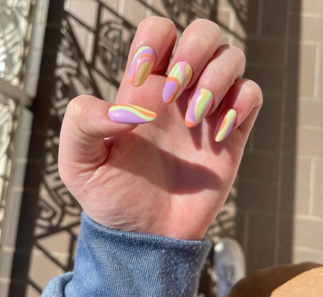 trend alert - rainbow nails are here to brighten up your spring days