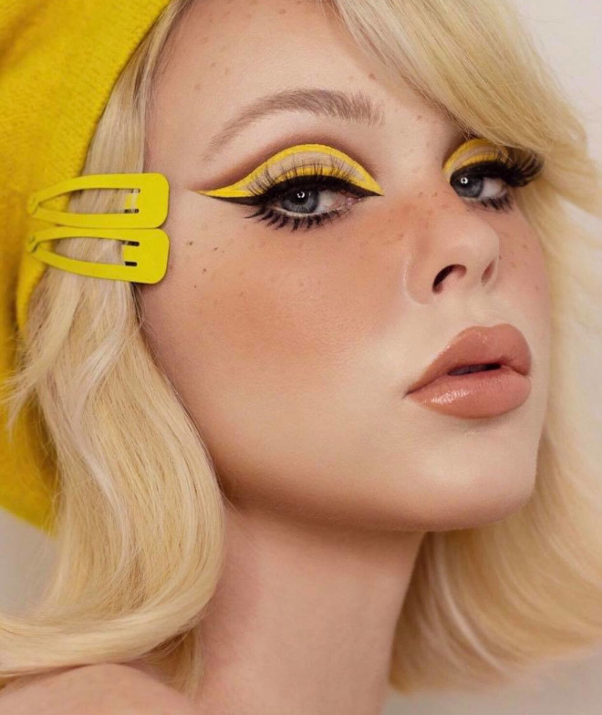 add a pocket full of sunshine to your look with the yellow eye makeup trend