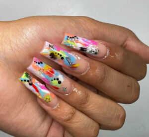 psychedelic nails is the latest summer nail art trend to try